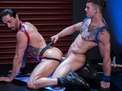 Mikoah Kan is down on hands and knees and untying Sebastian Kross' jock to reveal what hot, huge surprise lies underneath. After Mikoah unleashes the beast, Sebastian shoves his covert cock down Mikoah's windpipe without hesitation. The throat very comme mature gay