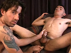Straight man having his ass fuck with a toy by his gay buddy