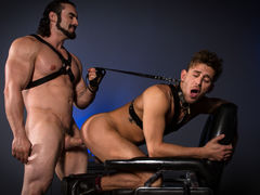 With a slender cane in his grip, Jaxton Wheeler menaces his sub, Alexander Gustavo. Pulling back the lean rod, Jaxton lets it slap across Alexander's bare, unprotected ass and legs. Jaxton penetrates Alexander's tight hole using a cane with a sphere on th mature gay