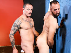 Max & Dustin are back in the locker room after their workout and Dustin tells Max that his muscles are sore.  Max rubs his shoulders and tells him that working out always makes him horny!  Since they are all alone in the locker room they decide to let loo