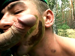 Outside action. Hungry army boys sucking and fucking hard.