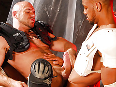 The rebelliousness is given as the twofold Gladiator cops Carioca and Axel battle over who can climb who. Carioca WINS and Axel must endure the fat horse cock of Carioca in the throat and then in his tight ass. It bucks him without mercy, and faster and f